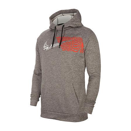 Nike Mens Long Sleeve Moisture Wicking Hoodie, Medium , Gray