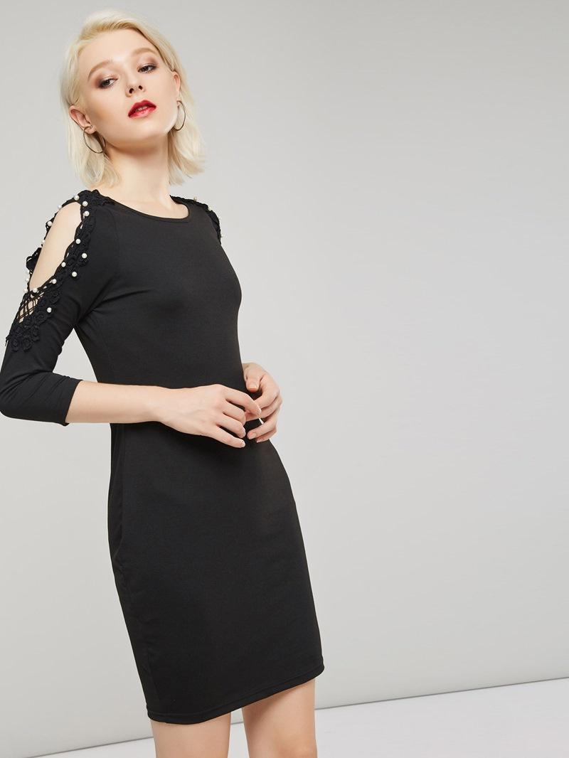 Ericdress Three-Quarter Sleeve Bead Bodycon Dress