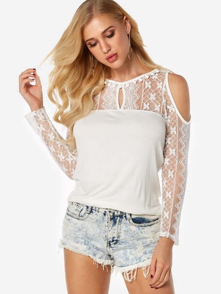 Yoins White See Through Lace Insert Cold Shoulder Long Sleeves Blouses