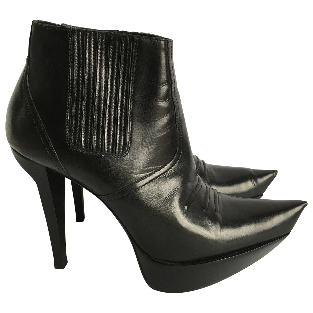 Balenciaga \N Black Leather Ankle boots for Women 40 EU
