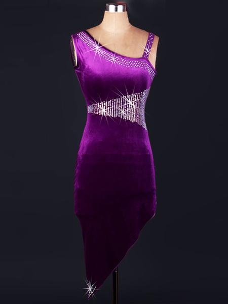 Milanoo Dance Costumes Latin Dancer Dresses Velour Purple One Shoulder Rhinestones Asymmetrical Design Bodycon Dancing Clothes Hallloween