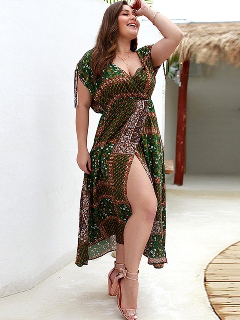 Ericdress Plus Size V-Neck Short Sleeve Mid-Calf Expansion Standard-Waist Dress