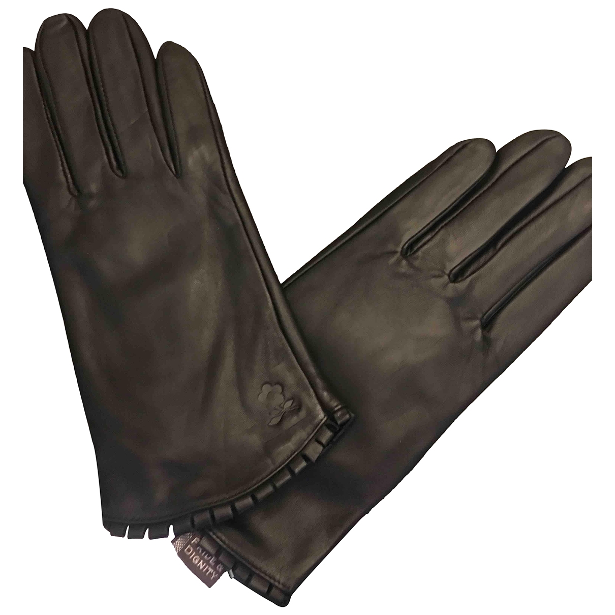 Non Signé / Unsigned \N Black Leather Gloves for Women XS International