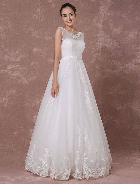 Milanoo Lace Wedding Dress Floor-length Bridal Gown Beading Sash Back Illusion A-line Luxury Bridal Dress