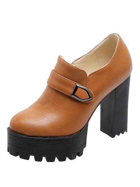 Milanoo Womens Platform Loafers Round Toe Slip-on Chunky Heel Casual Shoes