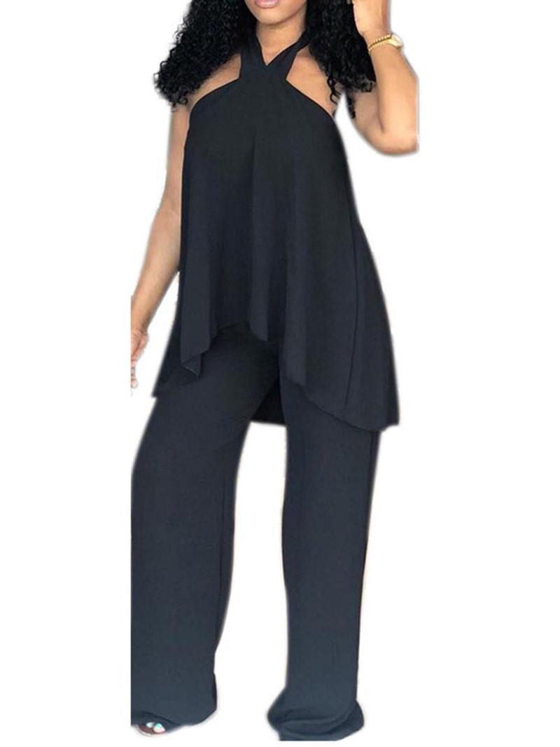 Ericdress Asymmetric Plain Halter Wide Legs Vest And Pants Two Piece Sets