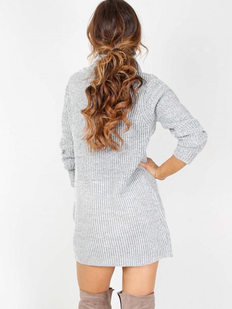 Ericdress Above Knee Long Sleeve Turtleneck Plain Regular Dress
