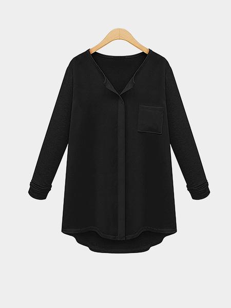 Yoins Plus Size Black Button Up Shirt
