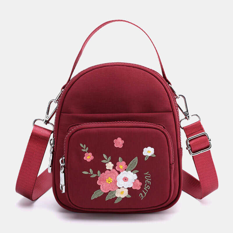 Women Nylon Waterproof Embroidery Casual Shoulder Bag Handbag