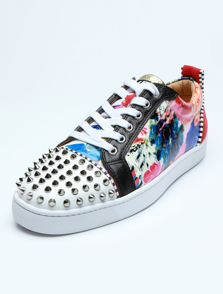 Milanoo Mens Sneakers 2020 White Round Toe Lace Up Floral Printed Rivets Casual Skate Shoes