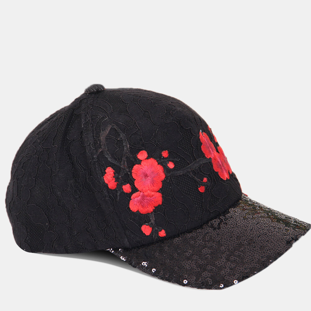 Ethnic Style Embroidered Hat Female Baseball Trendy Sequins Cap Outdoor Hat Visor