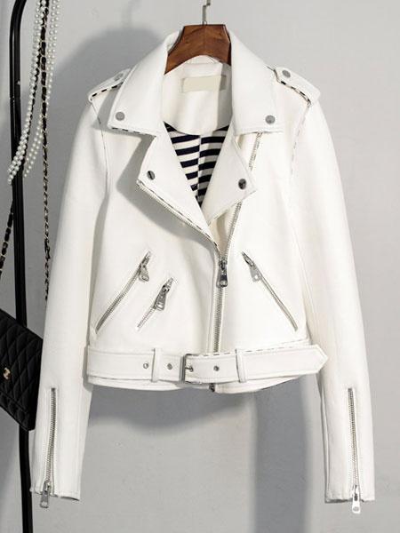Milanoo Brown Moto Jacket Turndown Collar Long Sleeve Women's Punk Short Jacket