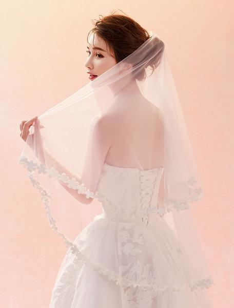 Milanoo Wedding Veil Ivory Lace Flowers Applique Edge Oval One Tier Bridal Veil