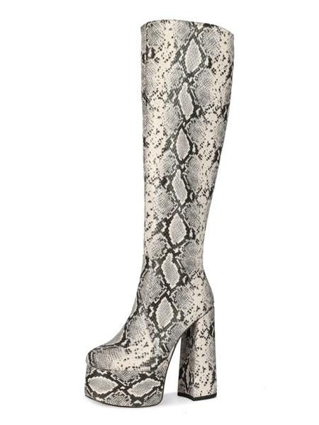 Milanoo Knee-High Boots Python Round Toe Snake Print Chunky Heel Knee Length Boots For Women