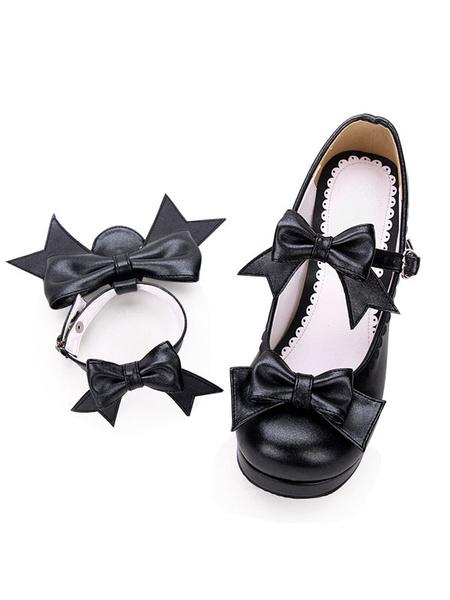 Milanoo Sweet Lolita Footwear Bow Strappy PU Platform Chunky High Heel Lolita Shoes