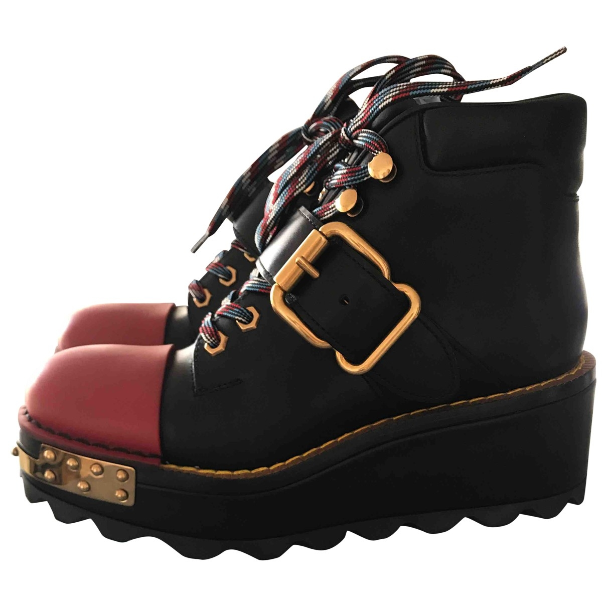 Prada Block Combat Black Leather Boots for Women 38 EU