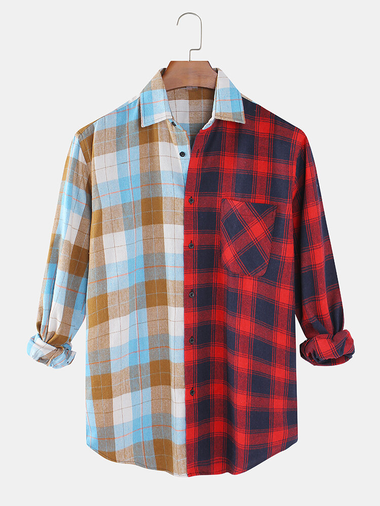 Mens Tartan Check & Patchwork Print Casual Lapel Collar Shirts With Pocket