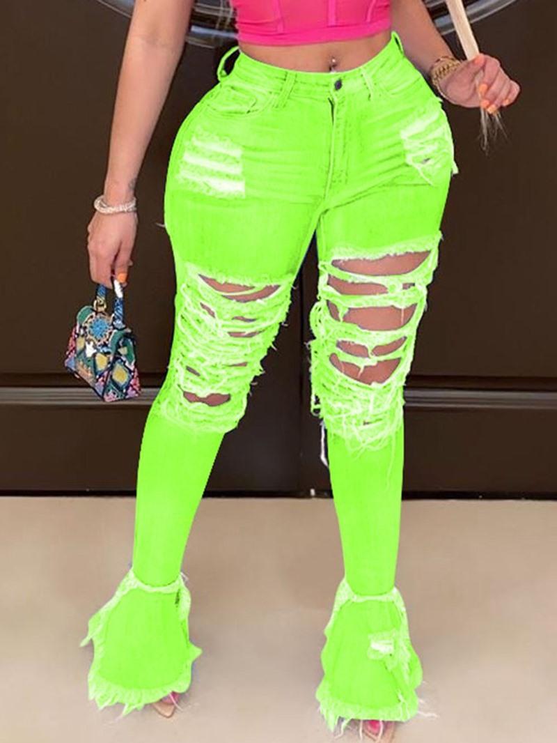 Ericdress Worn Bellbottoms Camouflage Zipper Mid Waist Jeans