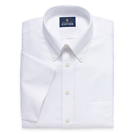Stafford Travel Wrinkle Free Stretch Oxford Short Sleeve Button Down Collar Big And Tall Mens Dress Shirt, 16.5 , White