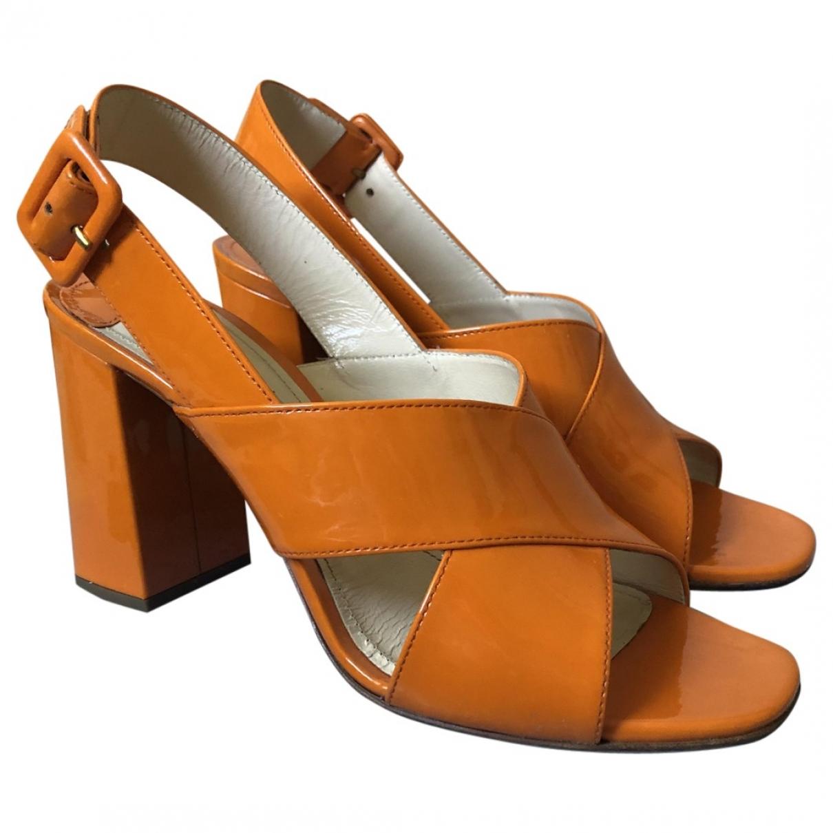Prada \N Orange Patent leather Sandals for Women 37.5 EU