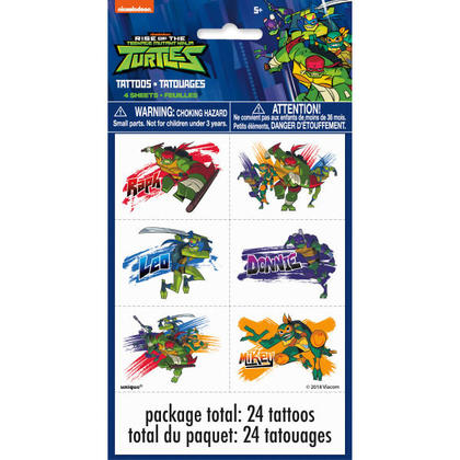 Rise of the TMNT Tattoos, 4 Sheets For Birthday Party