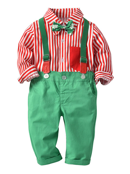 Milanoo Kid Christmas Set Stripe Bow Green 2 Piece Holidays Costumes