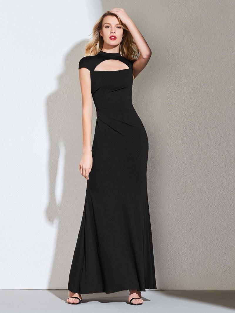 Ericdress Mock Neck Cap Sleeve Black Vintage Evening Dress