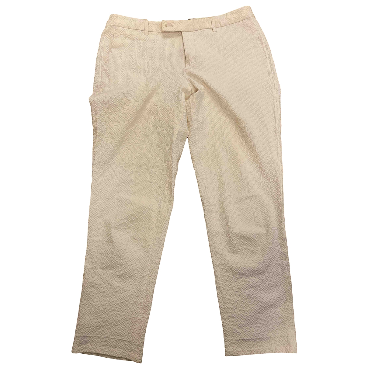 Non Signé / Unsigned \N White Cotton Trousers for Women 46 IT