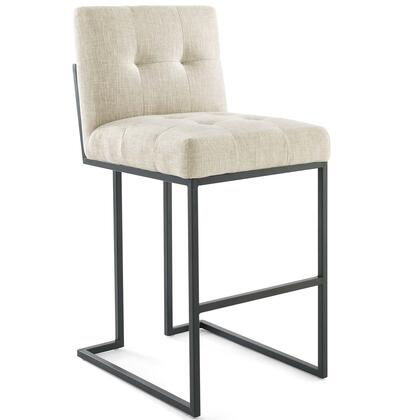Privy Collection EEI-3857-BLK-BEI Black Stainless Steel Upholstered Fabric Bar Stool in Black Beige