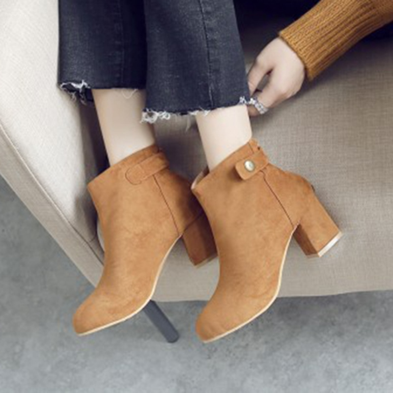 Ericdress Buckle Slip-On Plain Chunky Heel Ankle Boots
