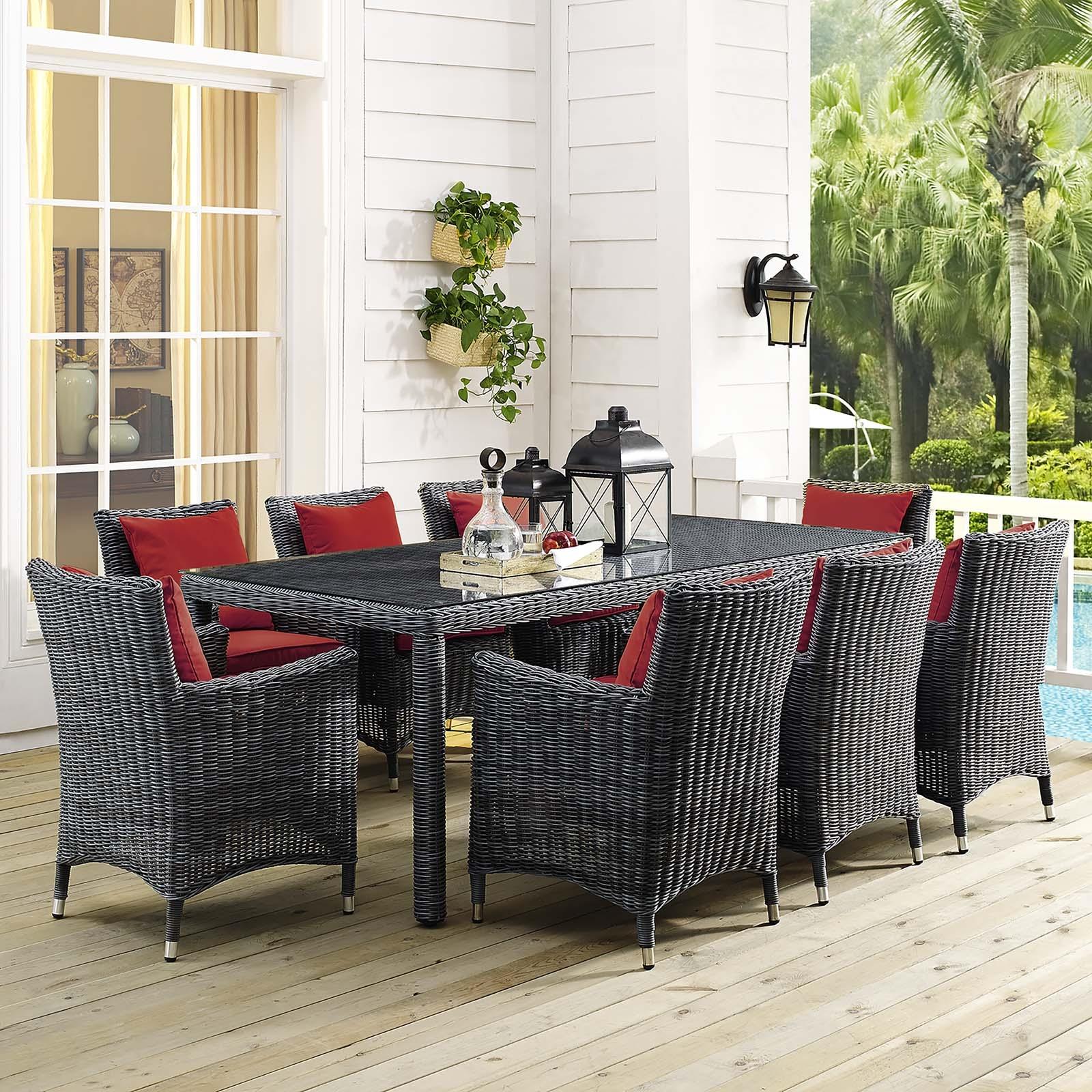 Summon 9 Piece Outdoor Patio Sunbrella® Dining Set in Canvas Red