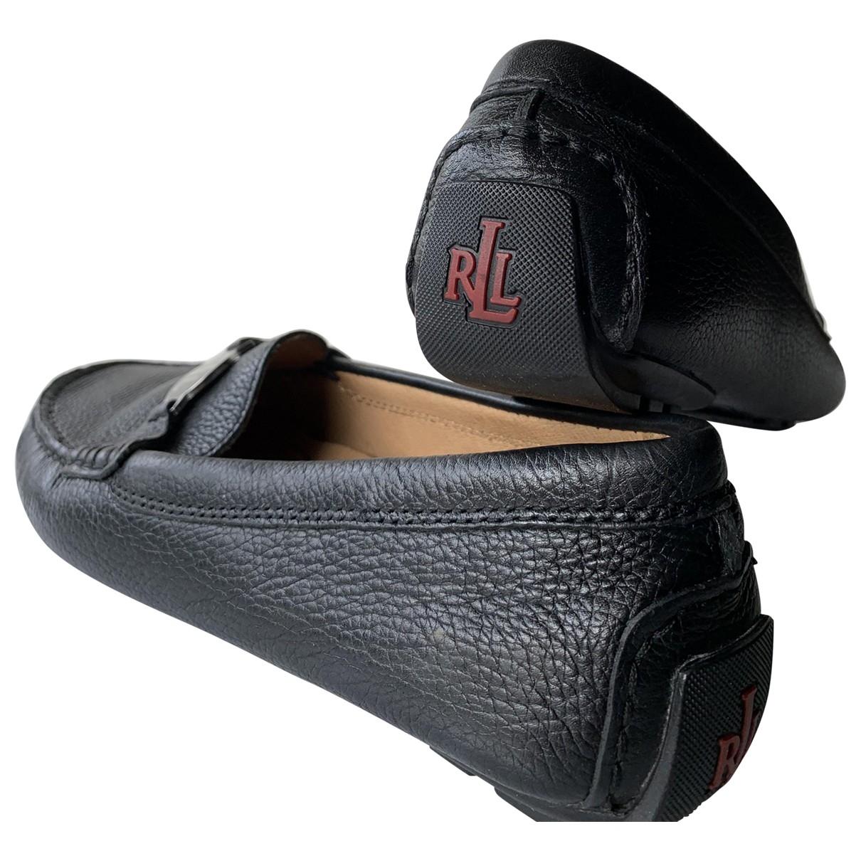 Lauren Ralph Lauren \N Black Leather Flats for Women 38 EU