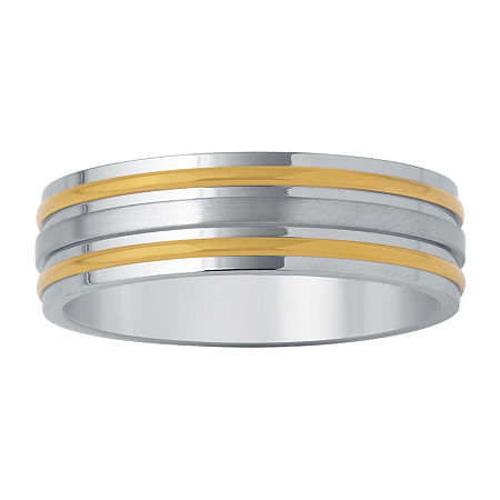 Mens 7mm Wedding Band in Two Tone Stainless Steel, 13 1/2 , No Color Family