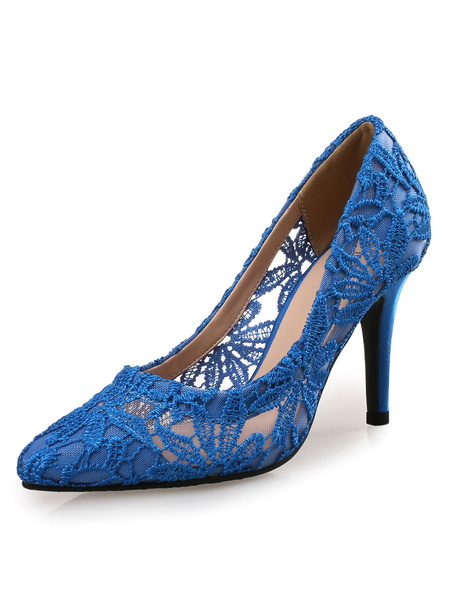 Milanoo Lace Wedding Shoes High Heel Women's Pointed Toe Pumps for Bridal