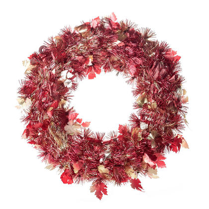 Halloween Tinsel Wreath with Die-Cut Leaves, Wall Hanging Decoration, 14'' Dia