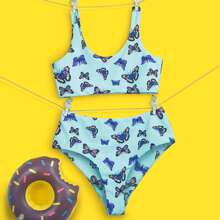 Girls Butterfly Print High Waisted Bikini Swimsuit