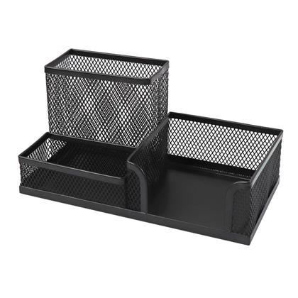 Foska® Mesh Office Caddy Organizer with 3 Compartments - Black