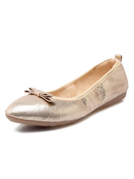Milanoo Women Ballet Flats Gold Pointed Toe Bow Slip On Flat Pumps