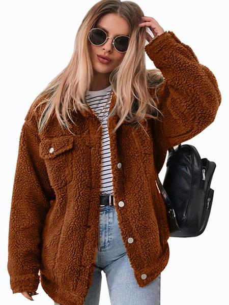 Milanoo Teddy Bear Faux Fur Coat Long Sleeve Button Up Winter Coat With Pockets