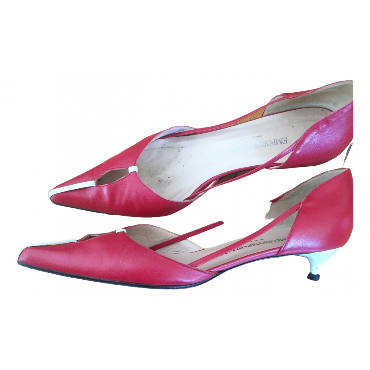 Emporio Armani \N Red Leather Heels for Women 39 EU