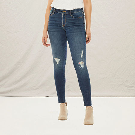 a.n.a Womens Ripped Jegging, 6 Petite Short , Blue