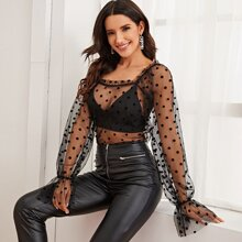 Flounce Sleeve Sheer Polka-dot Mesh Top Without Bra