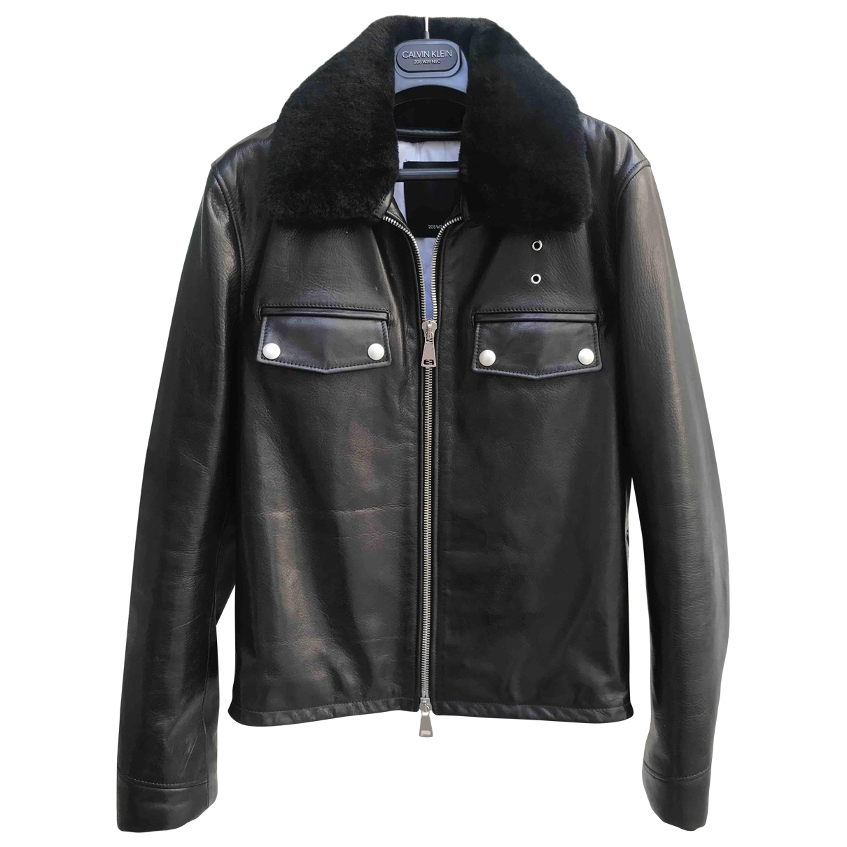 Calvin Klein 205w39nyc \N Black Leather Leather jacket for Women 40 IT