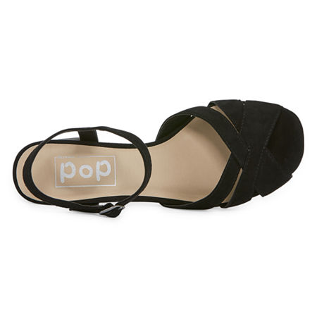 Pop Womens Garcelle Heeled Sandals, 9 Medium, Black