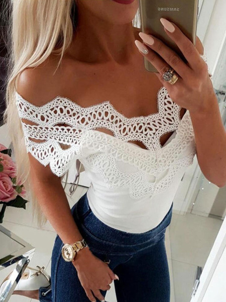 Milanoo Women Casual T Shirt Eyelet Embroidery Short Sleeve Lace Off The Shoulder Summer Top