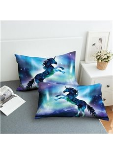 Unicorns In The Blue Galaxy Reactive Printing 2-Piece Polyester Pillowcase