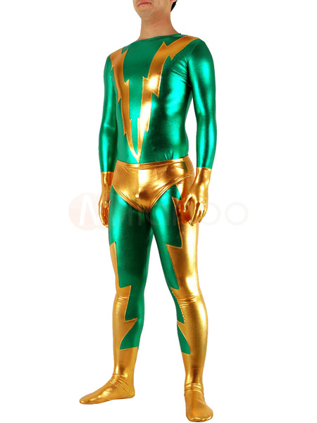 Milanoo Halloween Superhero Green and Golden Shiny Metallic Catsuit