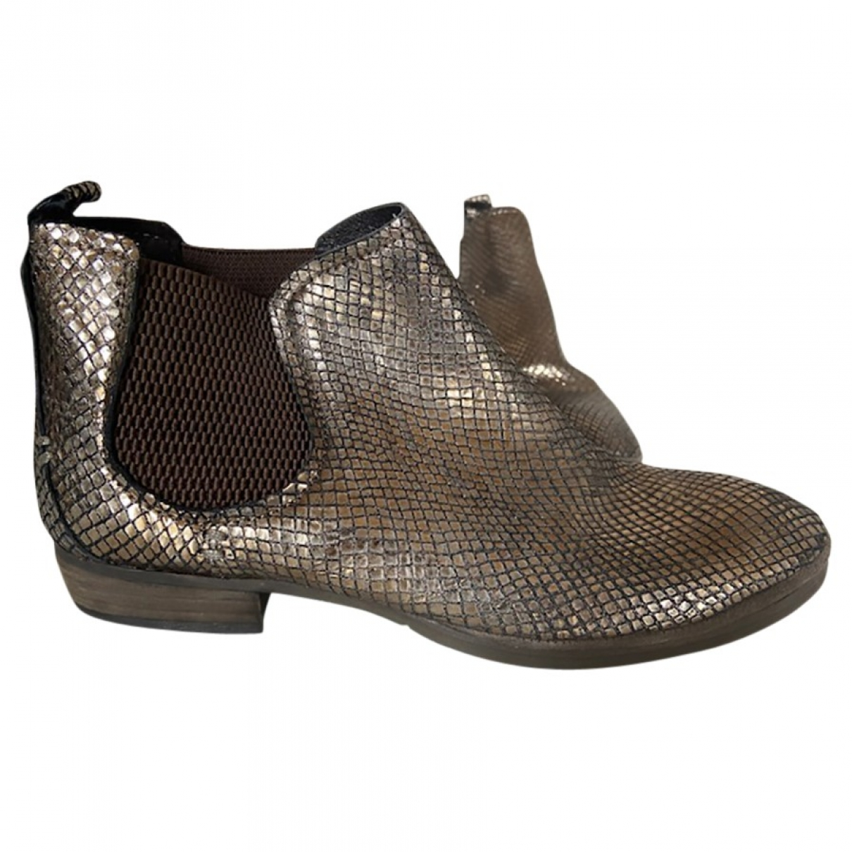 Non Signé / Unsigned \N Silver Leather Ankle boots for Women 37 EU