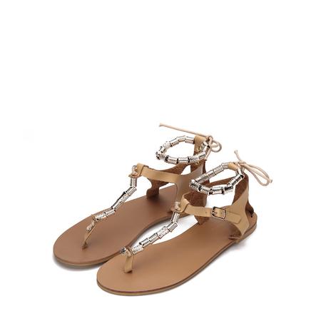 Yoins Apricot Beaded T-bar Shape Lace-up Flat Sandals