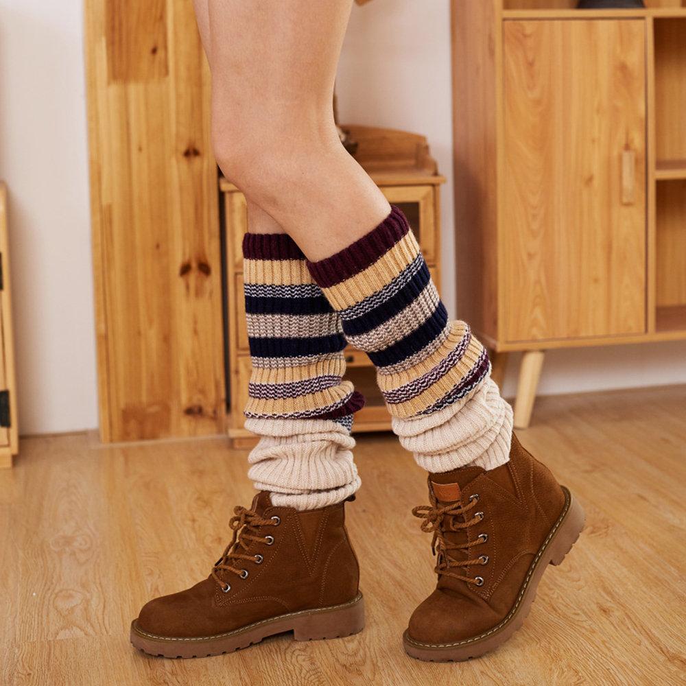 Women's Compression Socks Wool Over Knee Socks Color Strips Color Leggings Long Tube Socks
